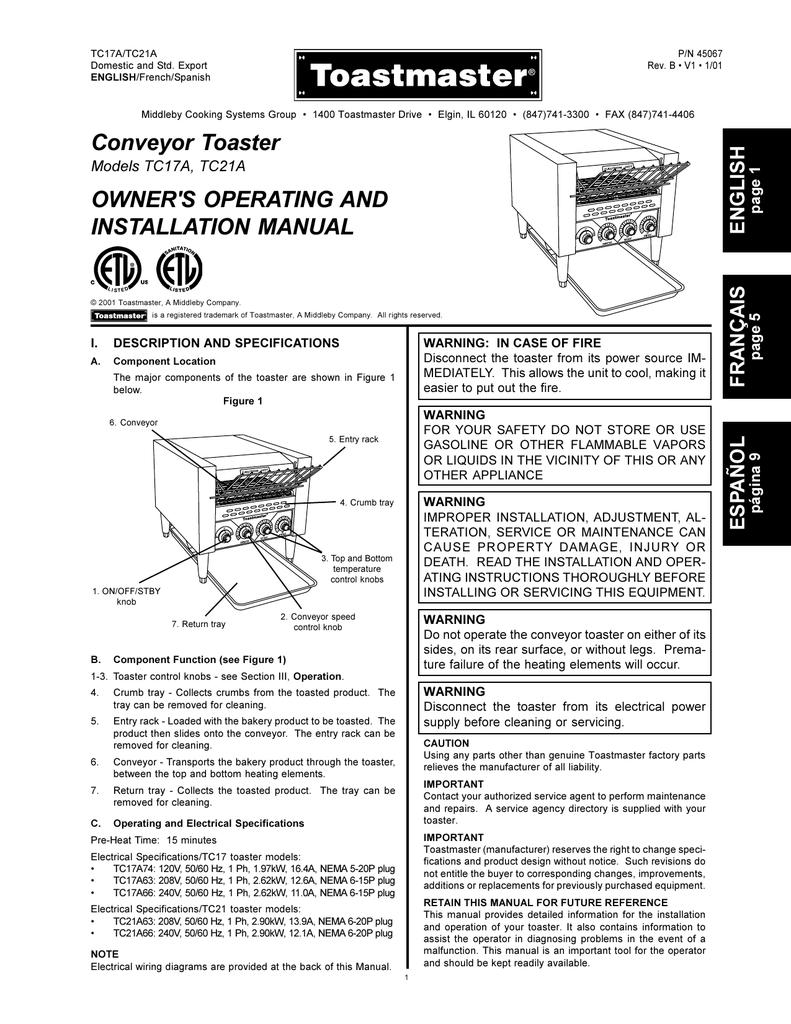 Toastmaster Tc17a Users Manual Wiring Diagram For Nema 6 20p Plug