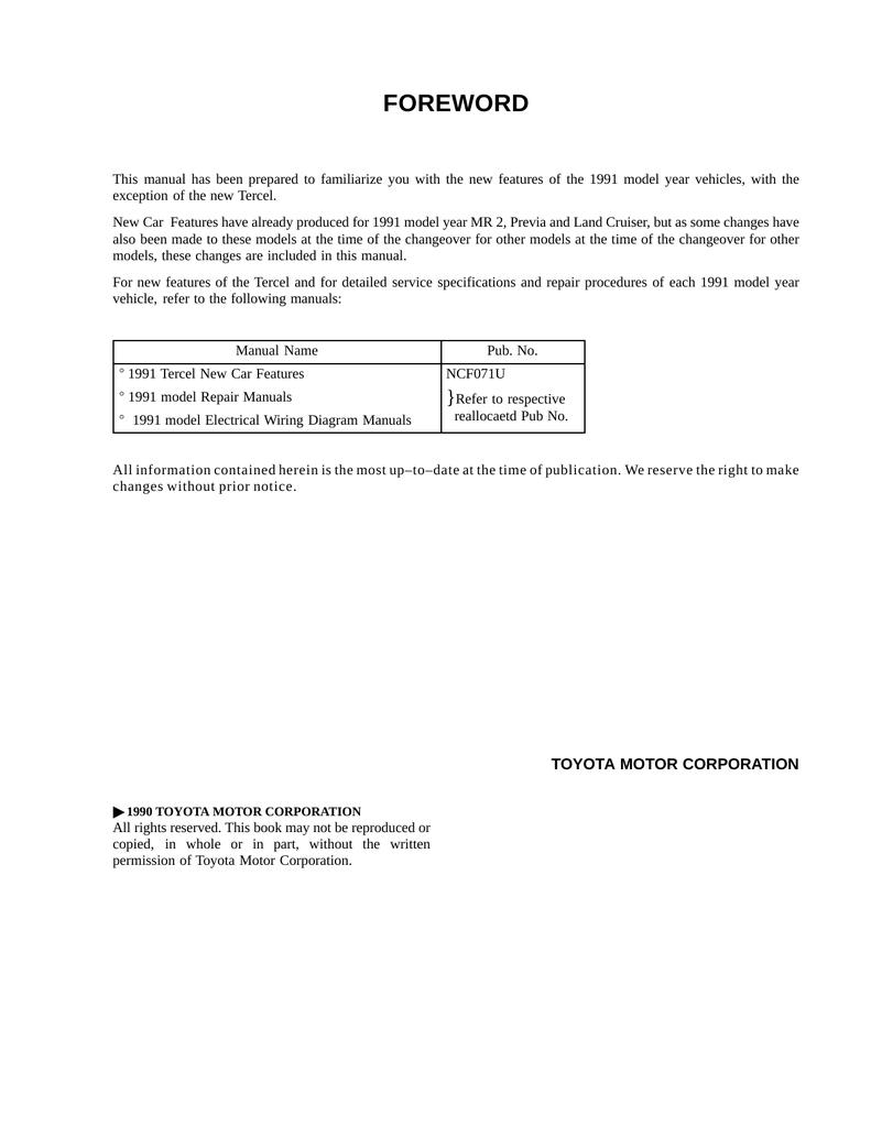 Toyota Automobile Tercel User's Manual   manualzz com
