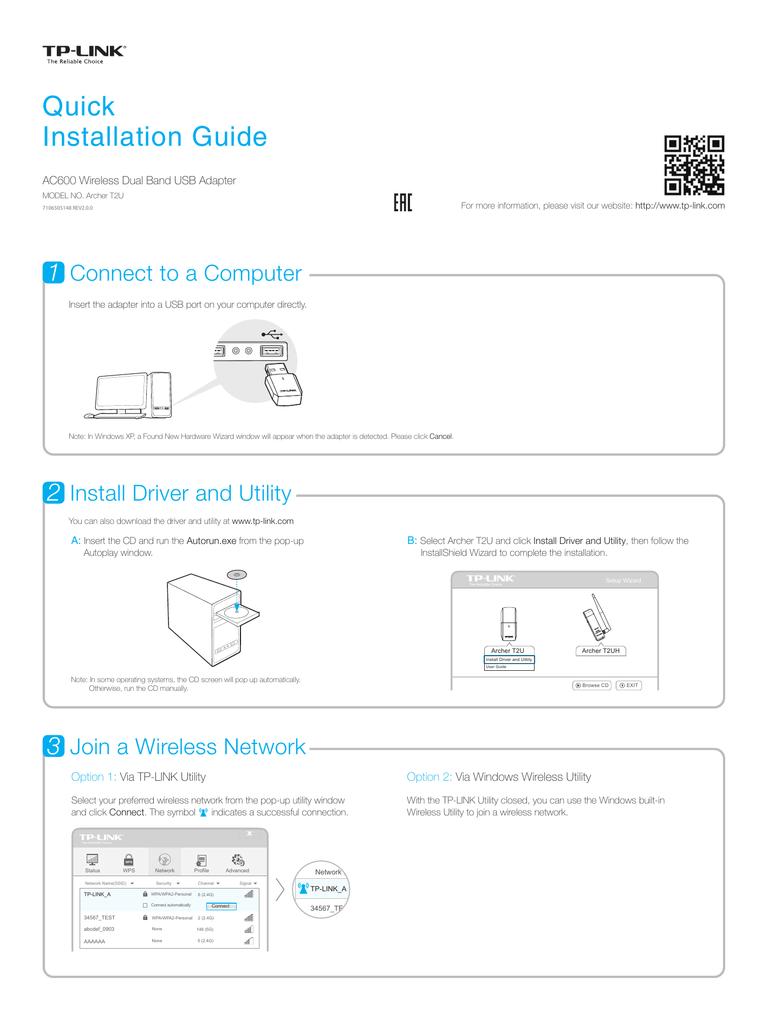TP-Link Archer T2U Quick Installation Guide | manualzz com