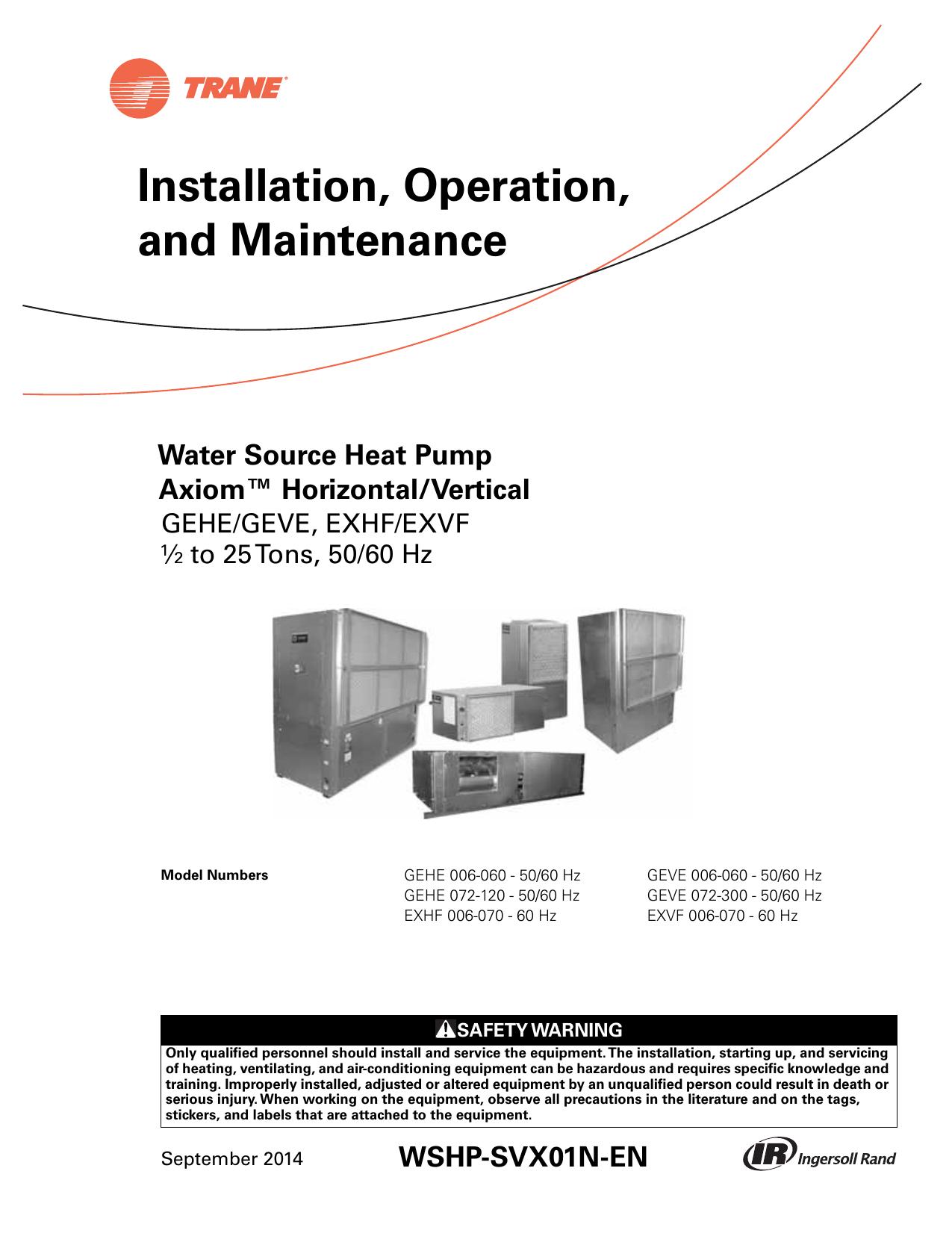 Trane H V Wshp 5 To 25 Tons Installation And Maintenance Manual Hard Start Kit Wiring Diagram