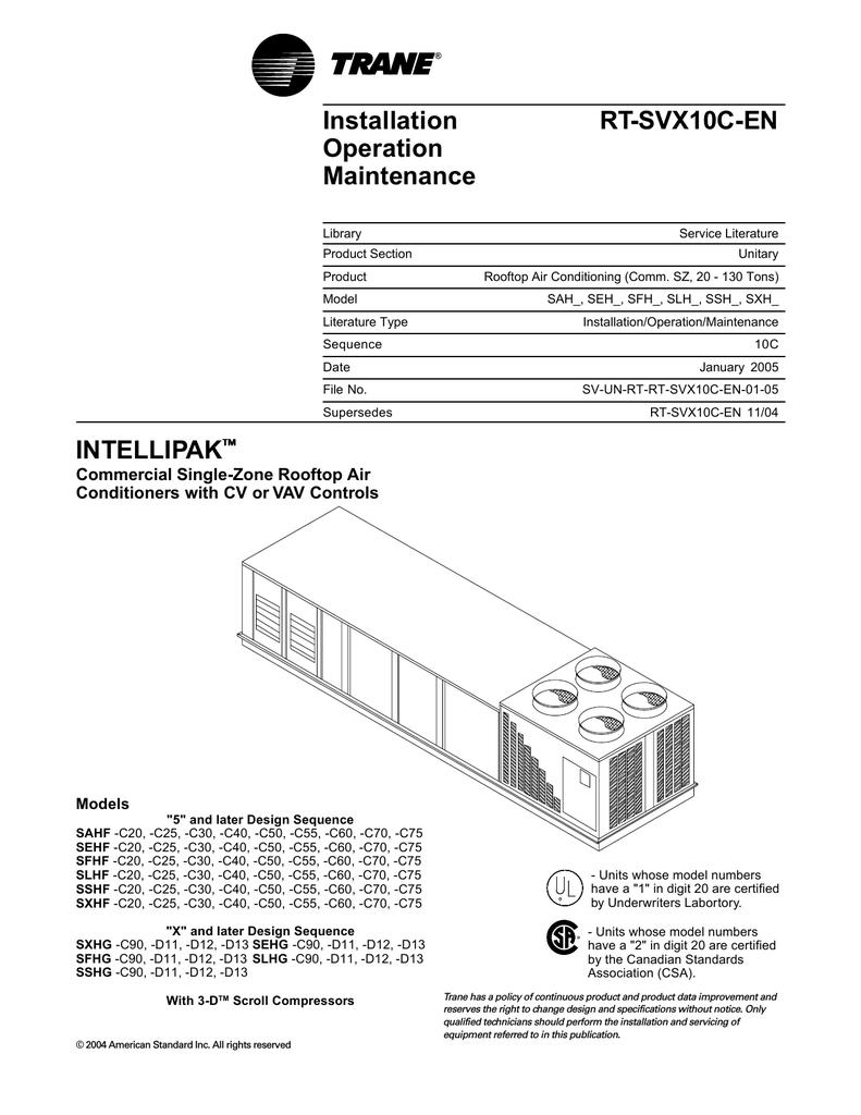 Trane RT-SVX10C-EN User's Manual | manualzz.com on