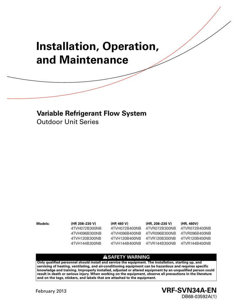 Trane Variable Refrigerant Flow System Outdoor Unit Series
