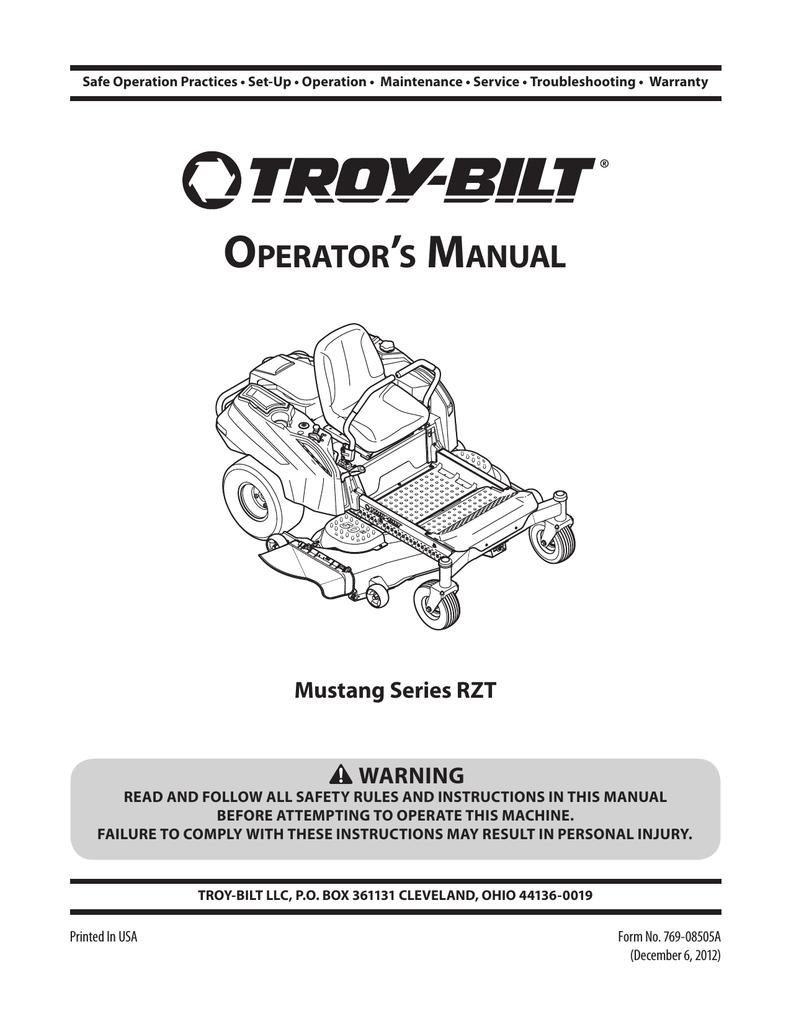 [SCHEMATICS_44OR]  Troy-Bilt Mustang 50 XP__Zero-Turn Riding Lawn Mower User's Manual |  Manualzz | Troy Bilt Mustang 5 0 Wiring Diagram |  | manualzz