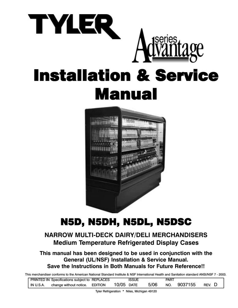 Tyler Refrigeration N5DL User's Manual   Manualzzmanualzz
