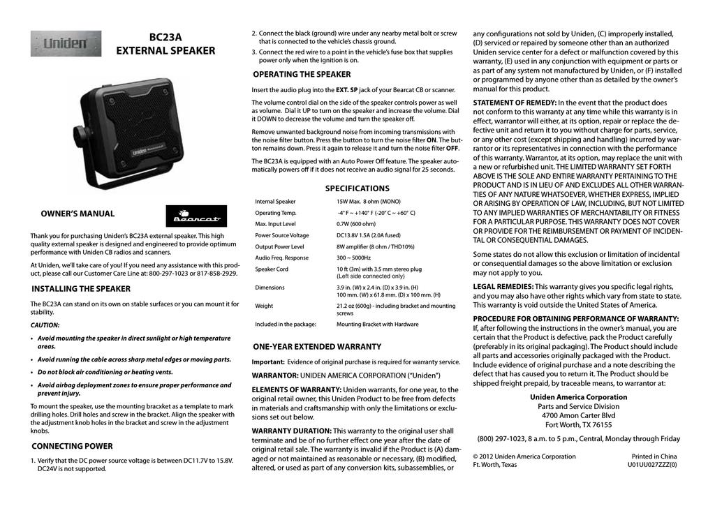 B Uniden Bearcat 15 Watt Amplified External Speaker BC23A
