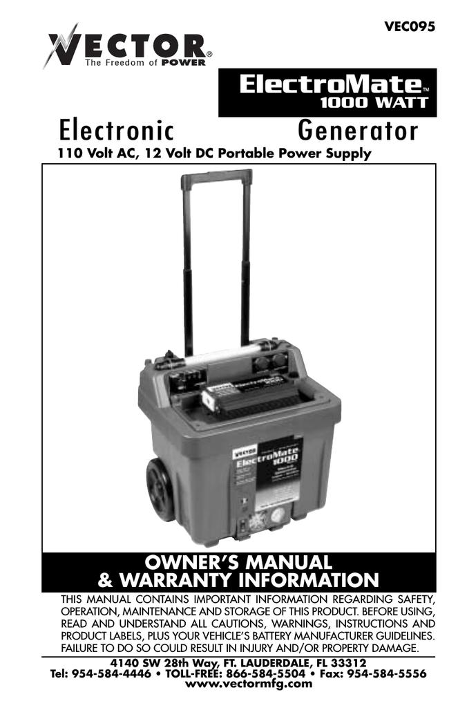 Vector ElectroMate 1000 WATT User's Manual | manualzz com