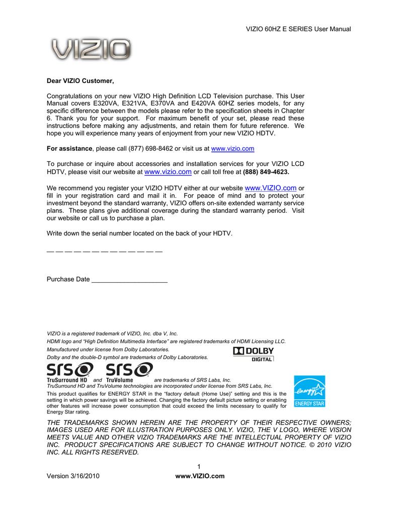 VIZIO E320VA User's Manual | manualzz com
