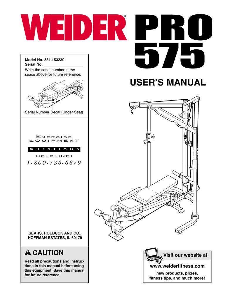 Weider pro 575 | english manual page 6.