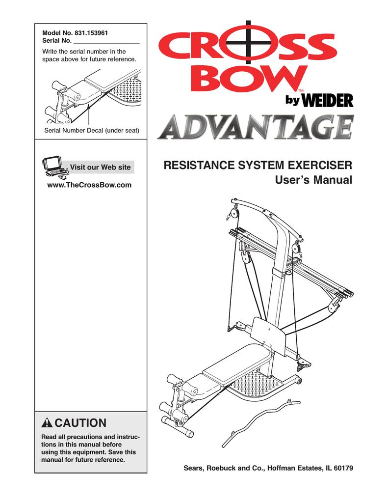 Weider crossbar wesy5942 user's manual | manualzz. Com.