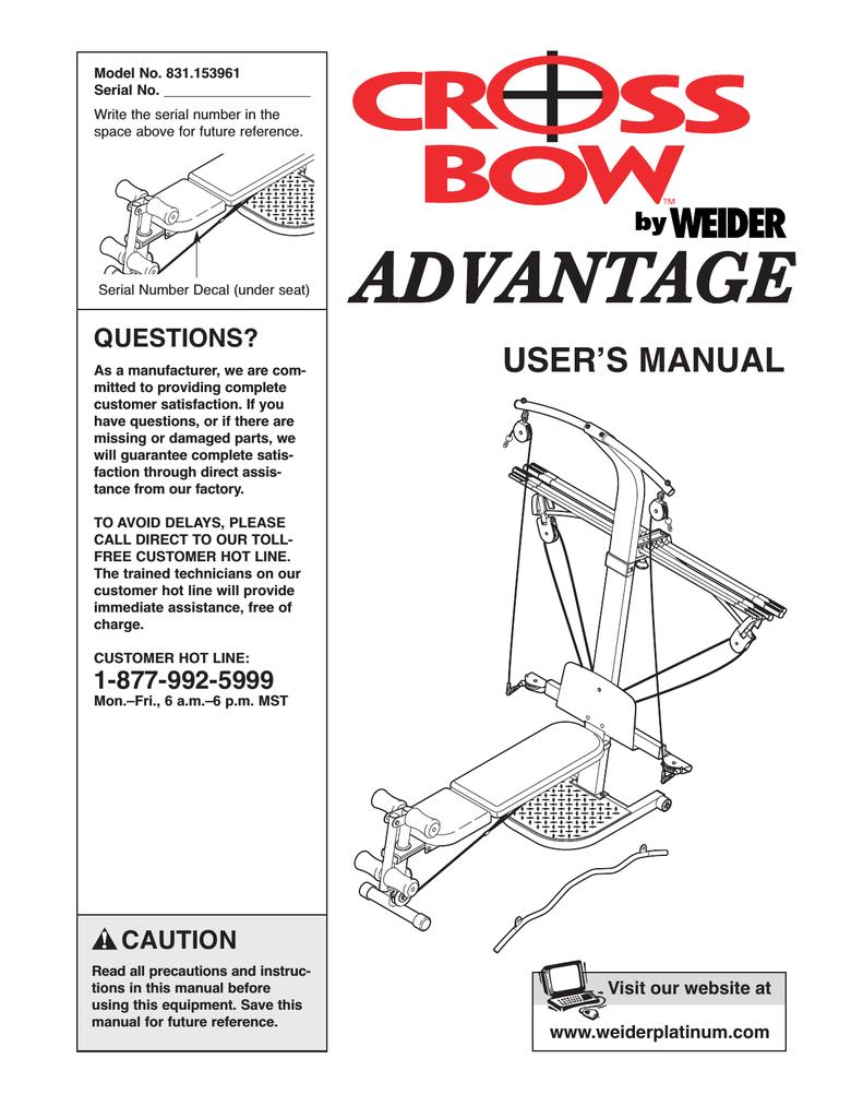 Weider crossbar advantage weccsy5393 users manual *weccsy53931.