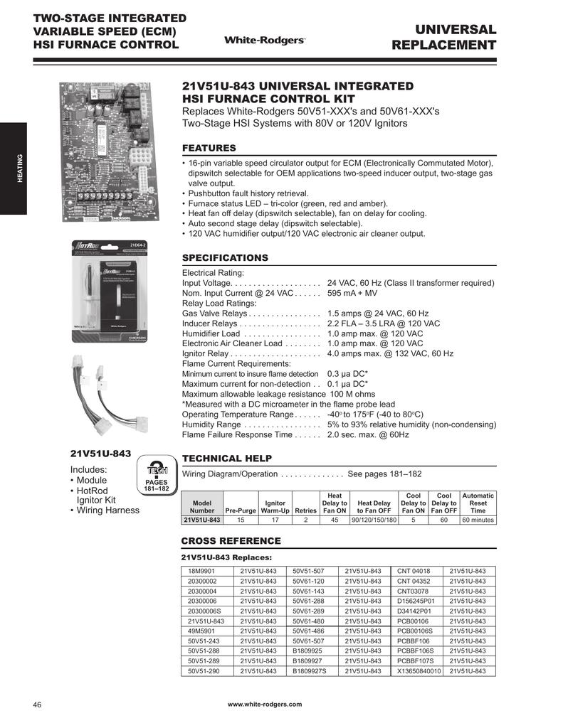 Universal Furnace Ignition Kit Wiring Diagram Lennox Control Board On White Rodgers 21v51u 843 Catalog Page Manualzz Comuniversal 15
