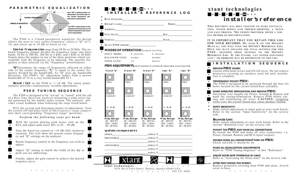 Xtant P500 User's Manual | manualzz.com on
