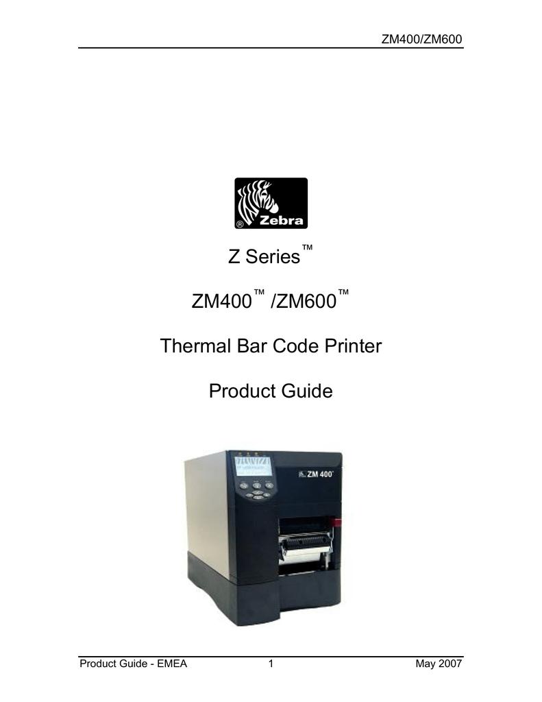 Zebra ZM400 User's Manual   manualzz com