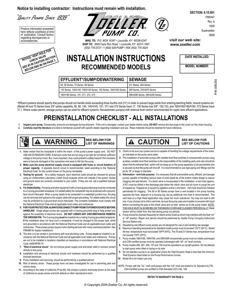 Zoeller P N006355 Users Manual Submersible Pump Wiring Diagram