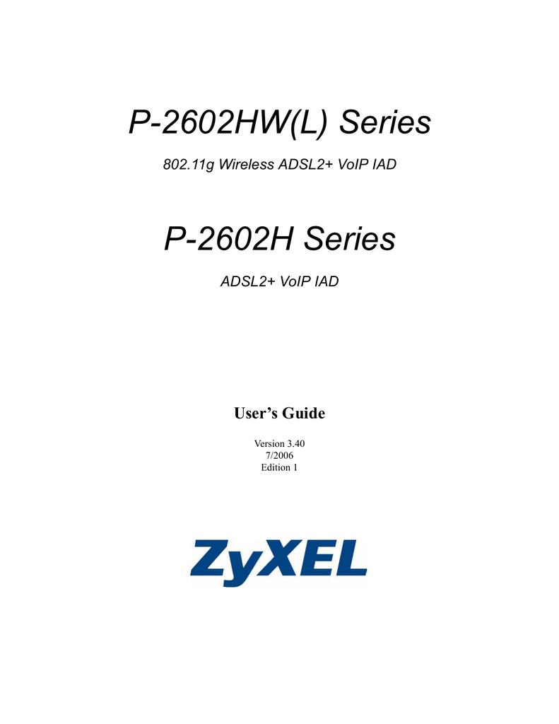 ZyXEL P-2602 User's Manual | manualzz com