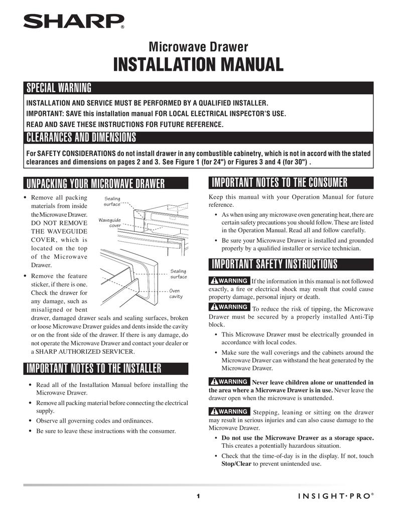 Sharp Kb6525ps Installation Guide