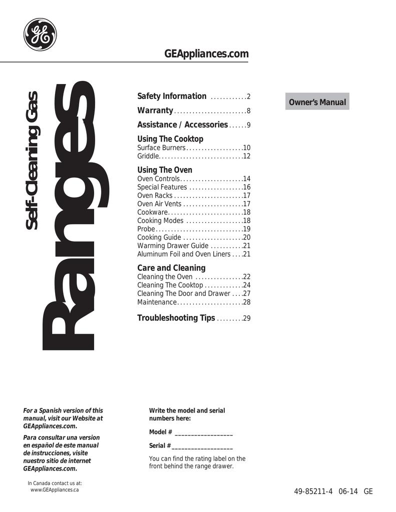 Ge Jgs750eefes User Guide Manualzz