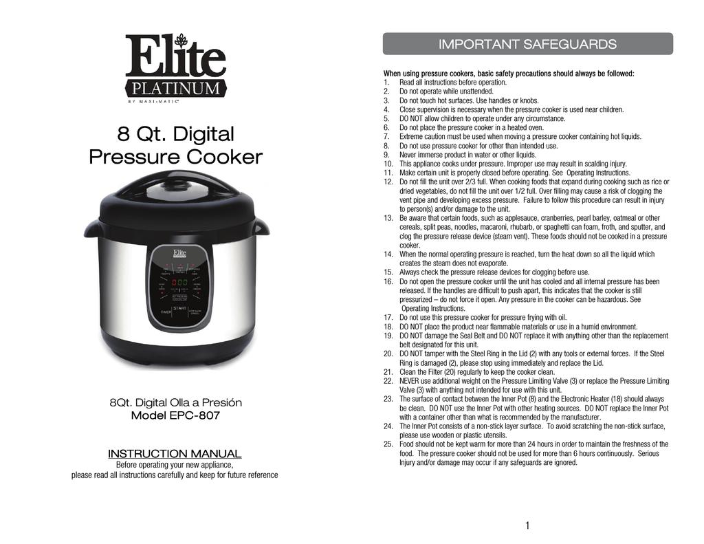 Elite EPC-807 Use and Care Manual | manualzz com