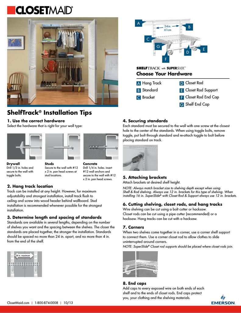 Closetmaid 1741 Installation Guide Manualzz Com
