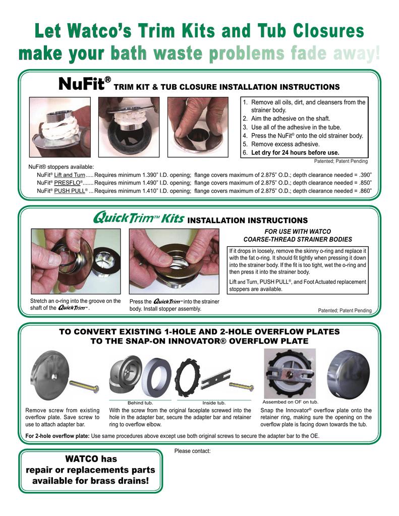 WATCO 48600-CP Nufit Push Pull Tub Closure