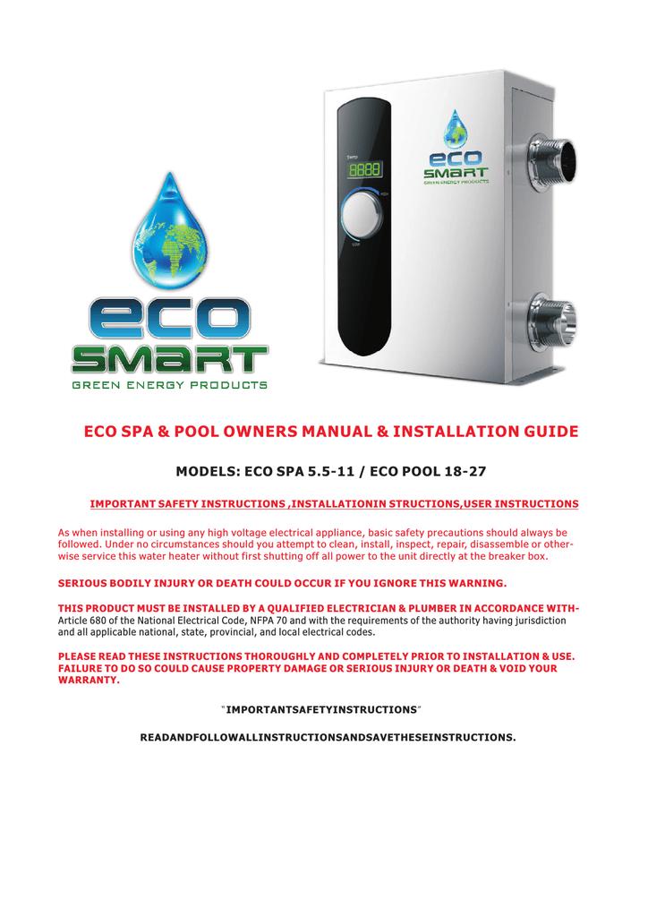 Ecosmart Smart Spa 11 Use And Care Manual Manualzz