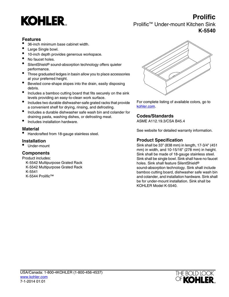 Kohler K 5540 Na Installation Guide Manualzz Com