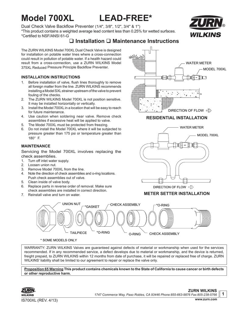 Zurn-Wilkins 34UFX34F-700XL Installation Guide   manualzz com