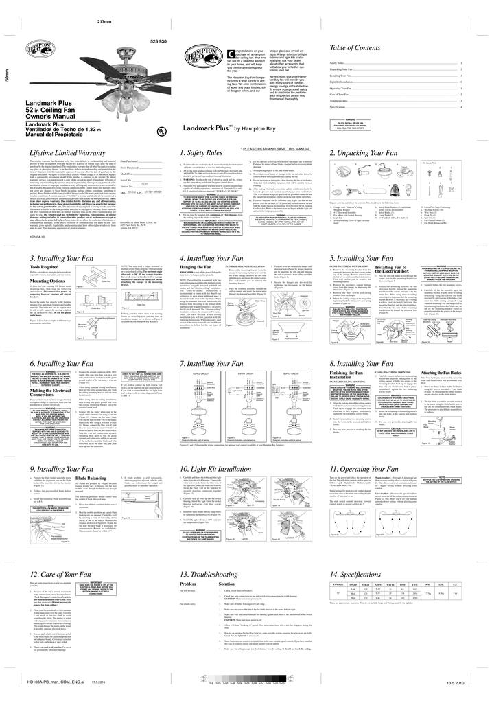 Hampton Bay HL52QVP-3LC14-C Installation Guide | Manualzz