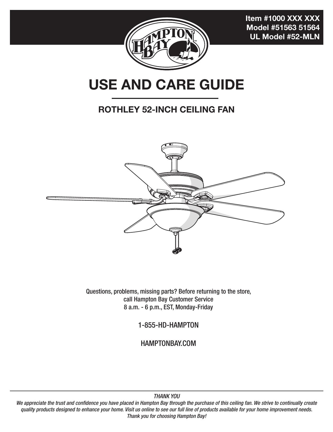 Hampton Bay 51564 Use and Care Manual | manualzz.com on