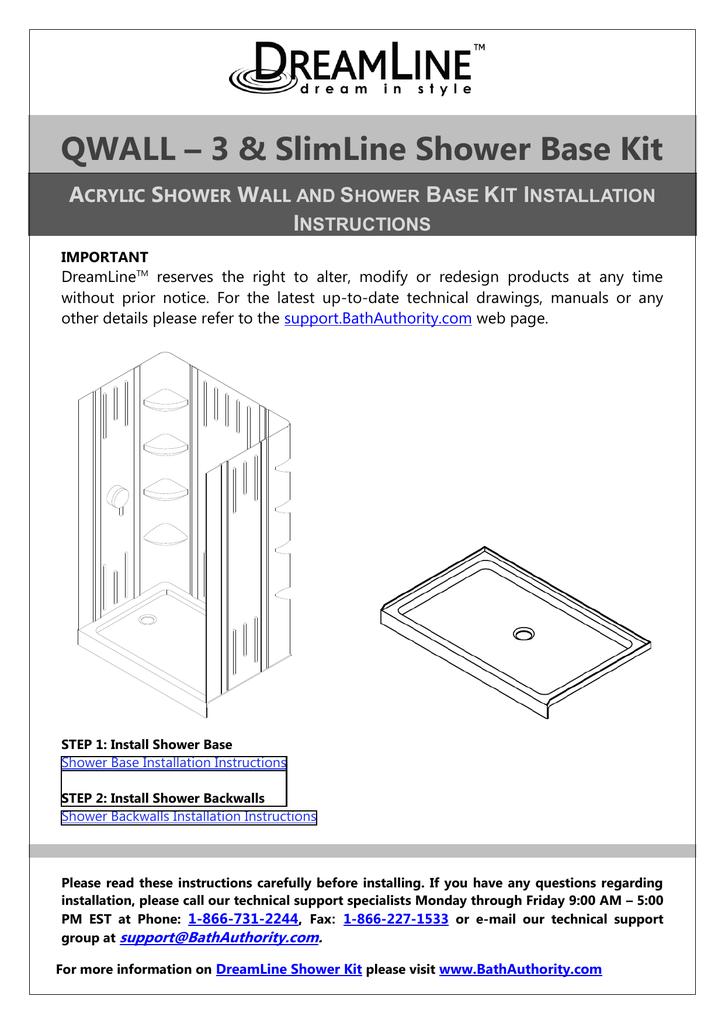 Dreamline Shower Base Installation.Dreamline Dl 6148c 01 Installation Guide Manualzz Com