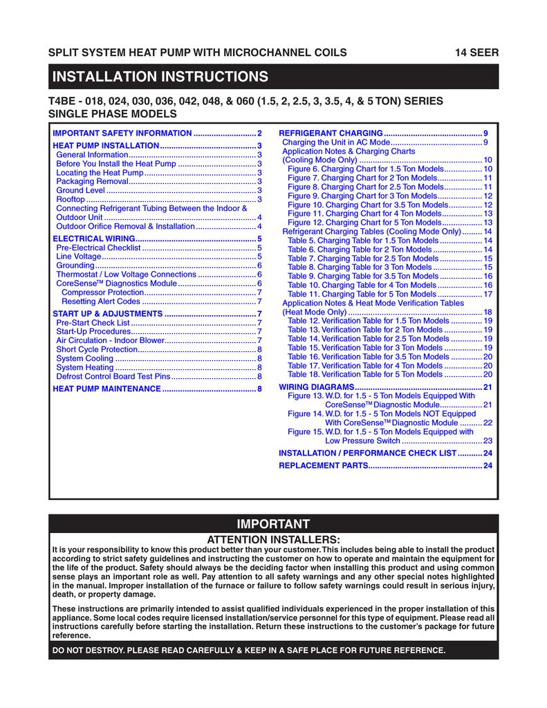 Kelvinator Jt4be048ka Installation Guide 208 Single Phase Wiring Diagram Hp S Fixture