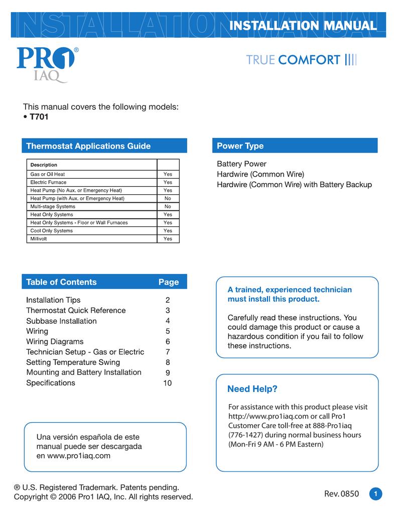 Pro 1 T701 Installation Guide Manualzz