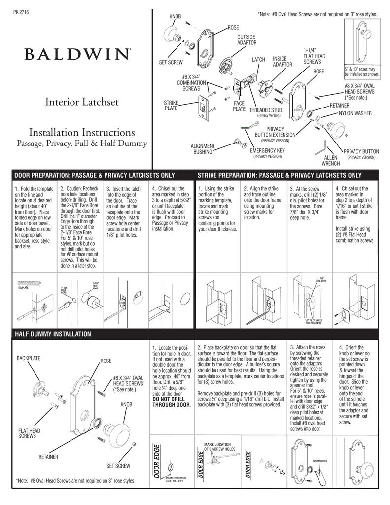 Baldwin 5080 102 P Instructions Embly Manualzz