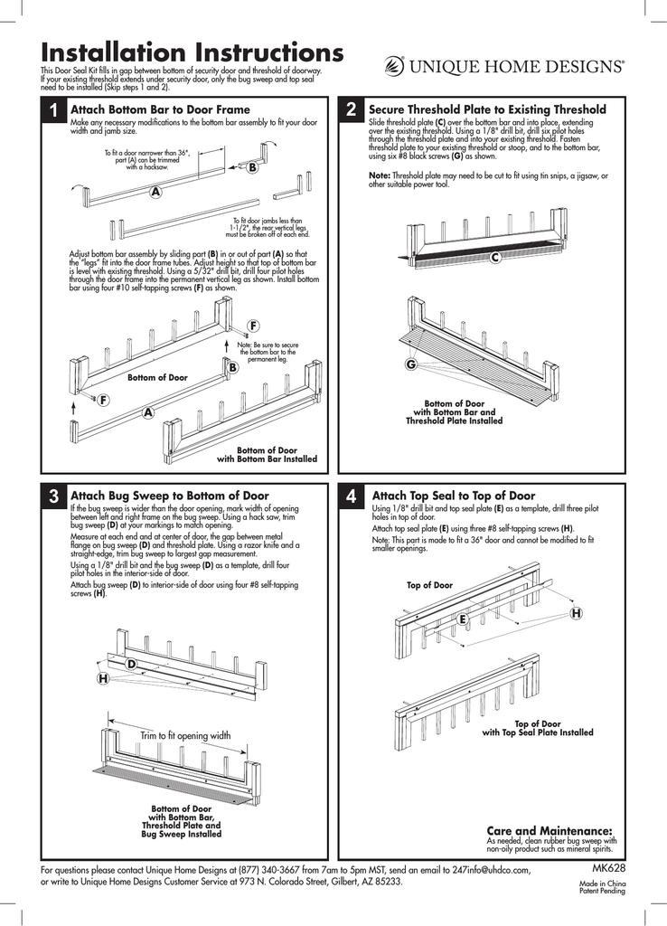Unique Home Designs 5SH910BLACK36 Installation Guide | manualzz.com