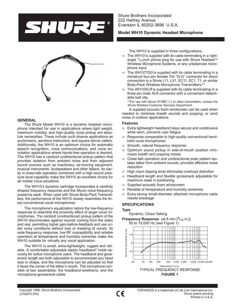 Shure WH10 Microphone User Guide | manualzz.com