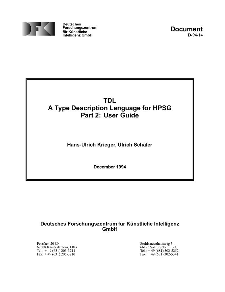 TDL A Type Description Language for HPSG Part 2 | manualzz com