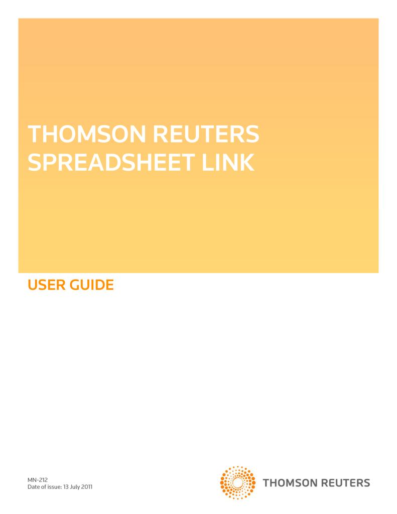 thomson reuters excel formulas