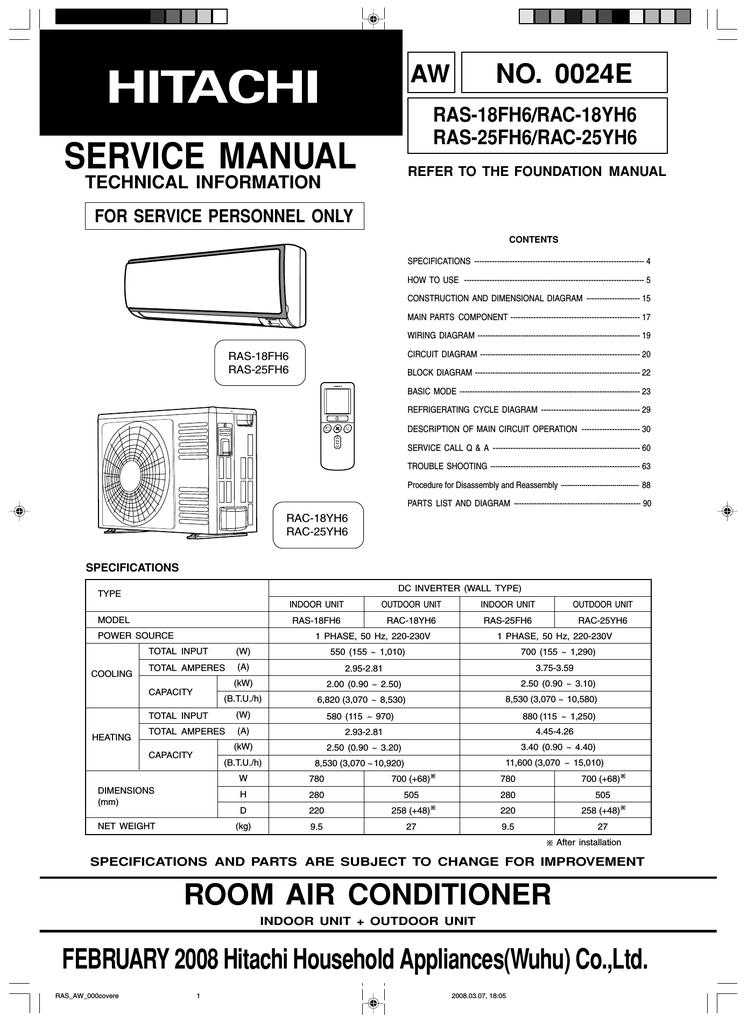 SERVICE MANUAL - Hitachi Air Conditioning   manualzz.com on
