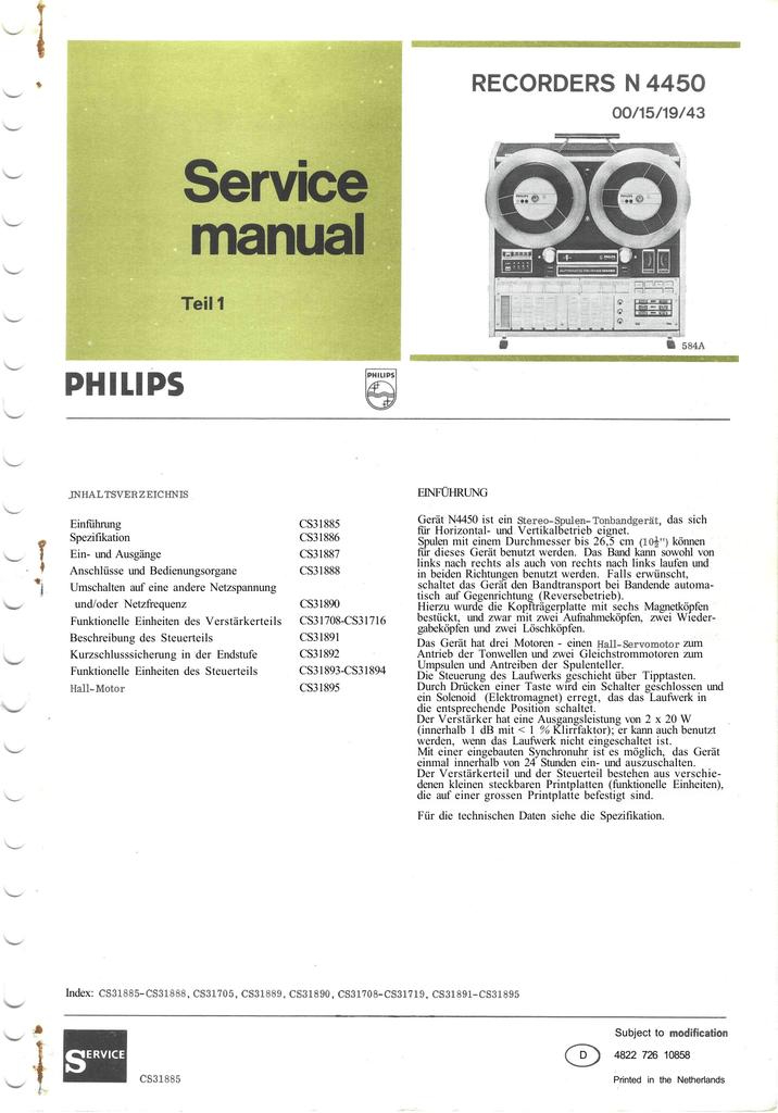 Service Manual Philips N4450 Teil 1 | manualzz.com