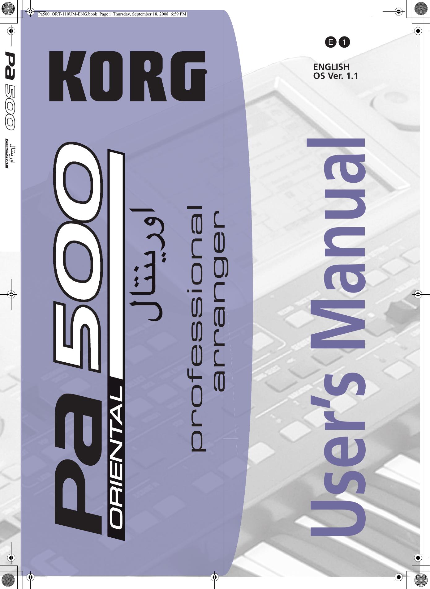 KORG Pa500 Oriental 1 17 User's Manual (E1)   manualzz com