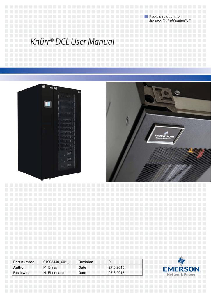 Knürr® DCL User Manual - Emerson Network Power | manualzz com