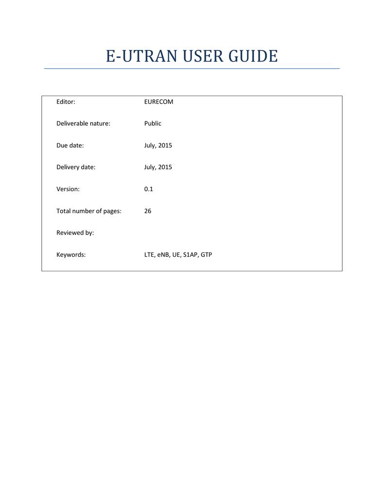 E-UTRAN USER GUIDE | manualzz com