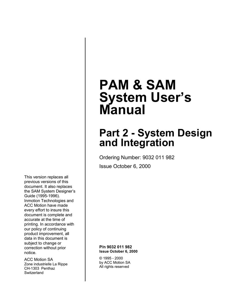 pam & sam system user's manual