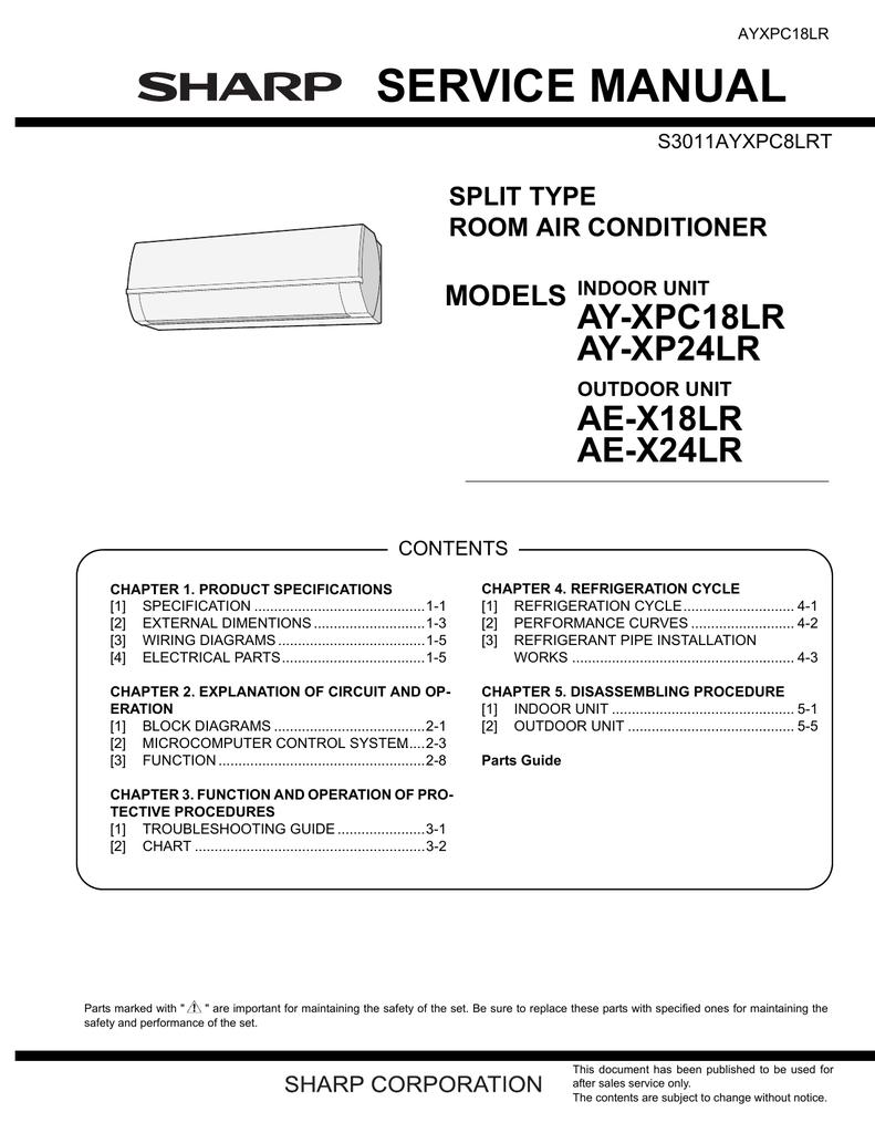 Ay Xpc18lr Xp24lr Ae X18 24lr Service Manual Gb Wiring Diagram Refrigeration Piping