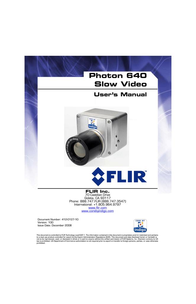 Photon 640 Slow Video User's Manual | manualzz com
