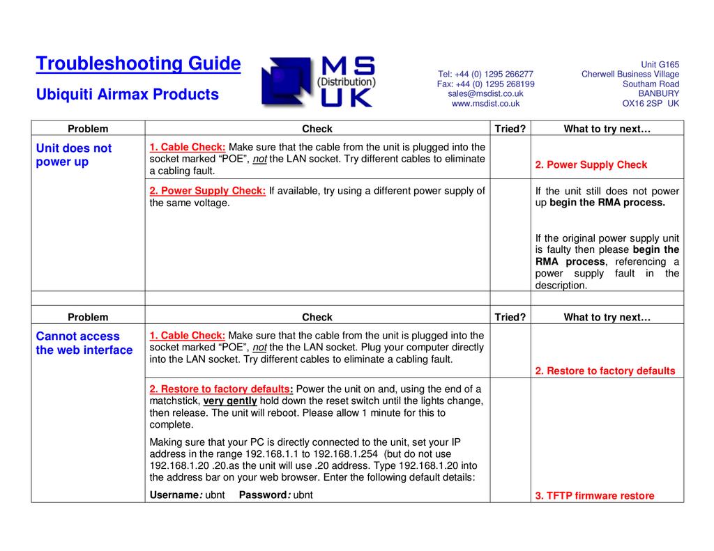 Ubiquiti Troubleshooting airMAX | manualzz com