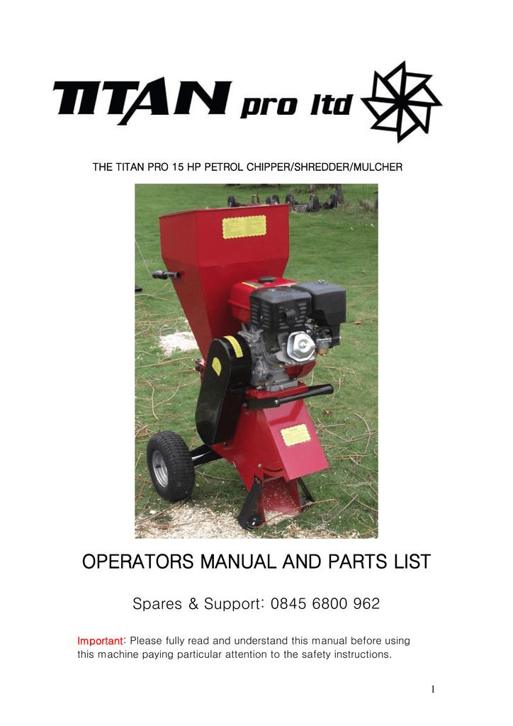 OPERATORS MANUAL AND PARTS LIST | manualzz com