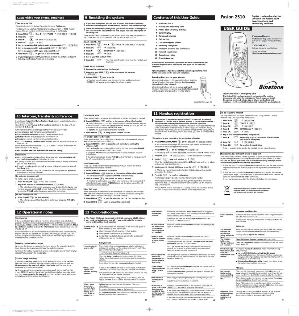 binatone fusion 2510 answering machine manual