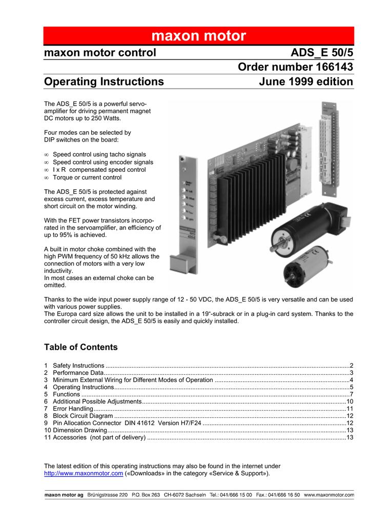 encoder 7 pole wiring diagram maxon motor control ads e 50 5 order number 166143 csl ep manualzz  maxon motor control ads e 50 5 order