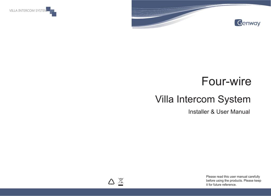 Fantastic New Four Wires Villa System User Manual Manualzz Com Wiring Digital Resources Otenewoestevosnl